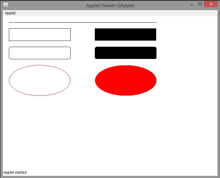 Drawing Lines In Java Applet : Applet program to draw lines ovals and rectangles my